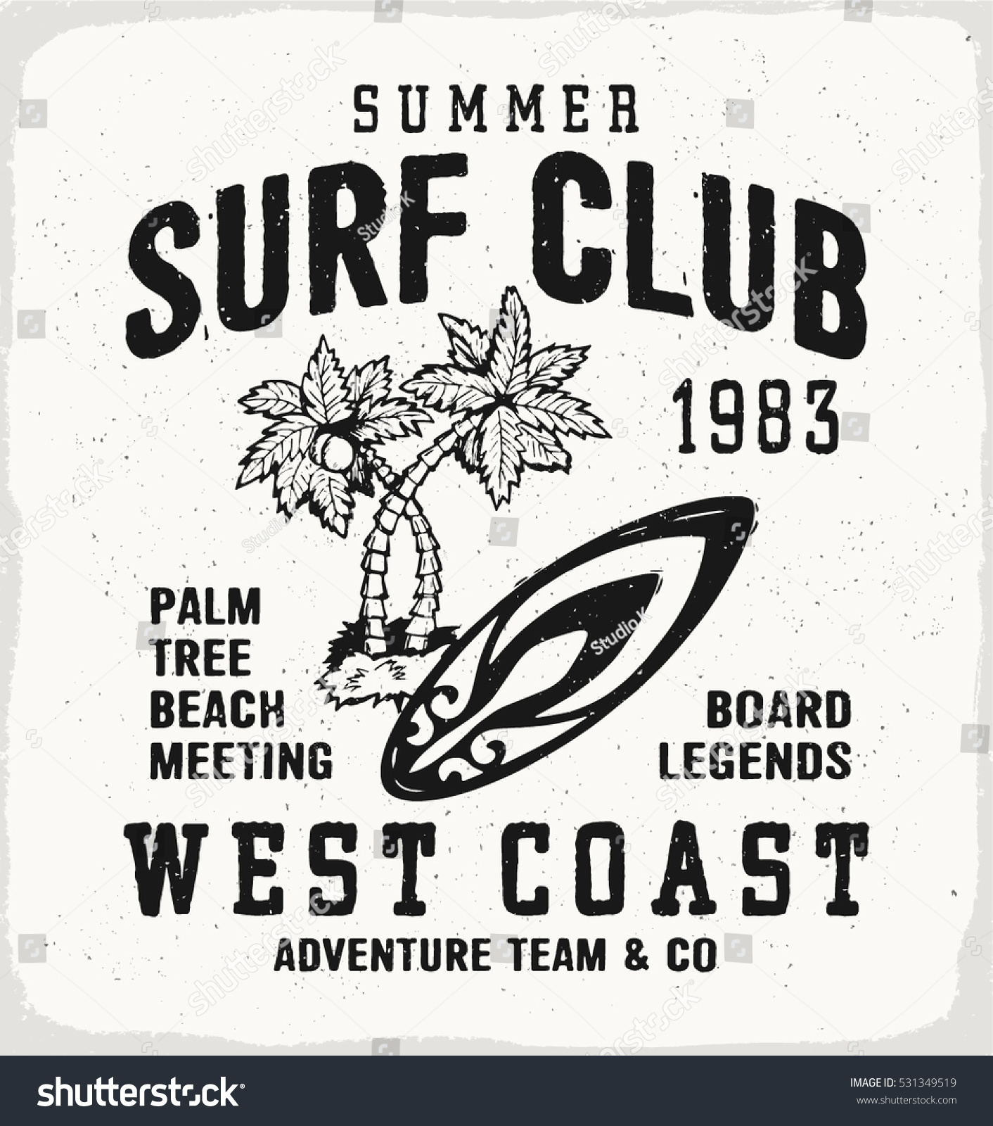 Surf club print in black and white for t shirt or apparel retro beach