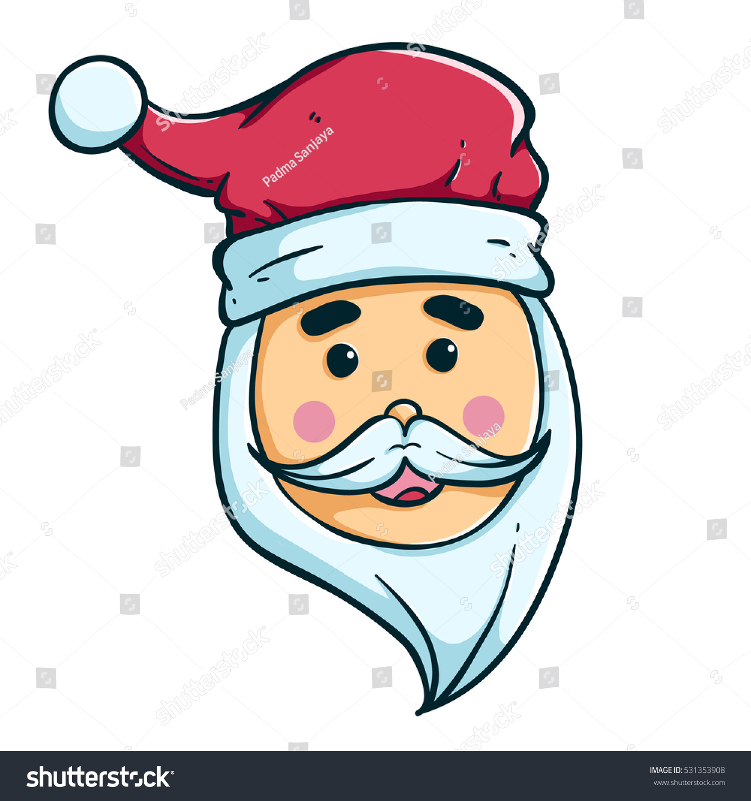 happy santa claus outline color on stock vector 531353908 shutterstock