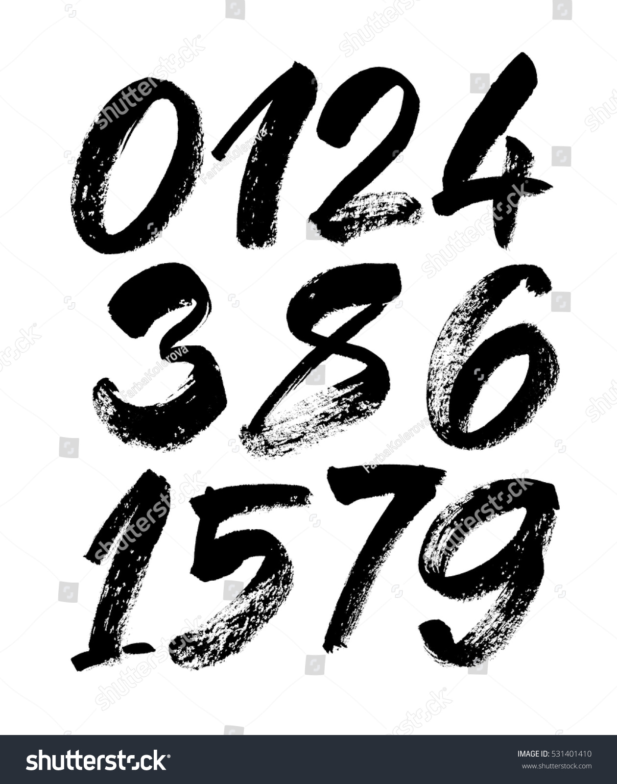 Vector Set Calligraphic Acrylic Ink Numbers Stock Vector