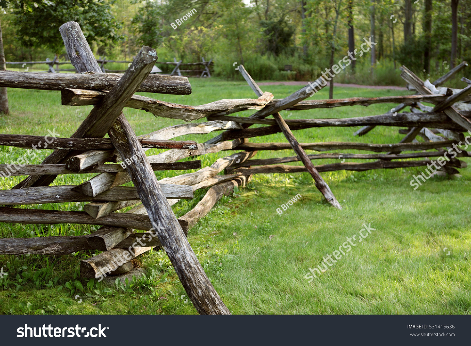 Split Rail Fence Common 19th Century Stock Photo 531415636
