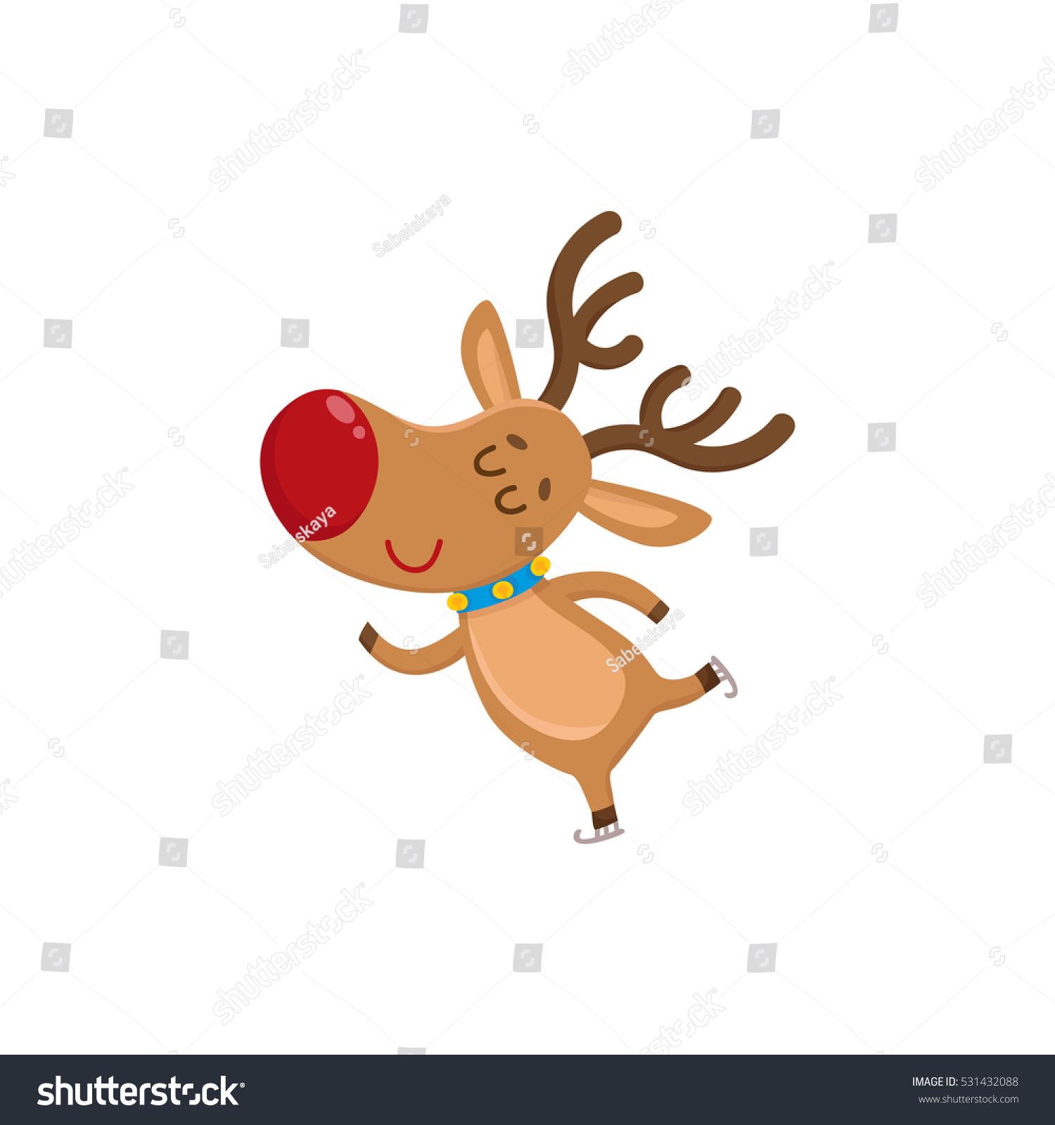 Cute funny christmas reindeer ice skating stock vector