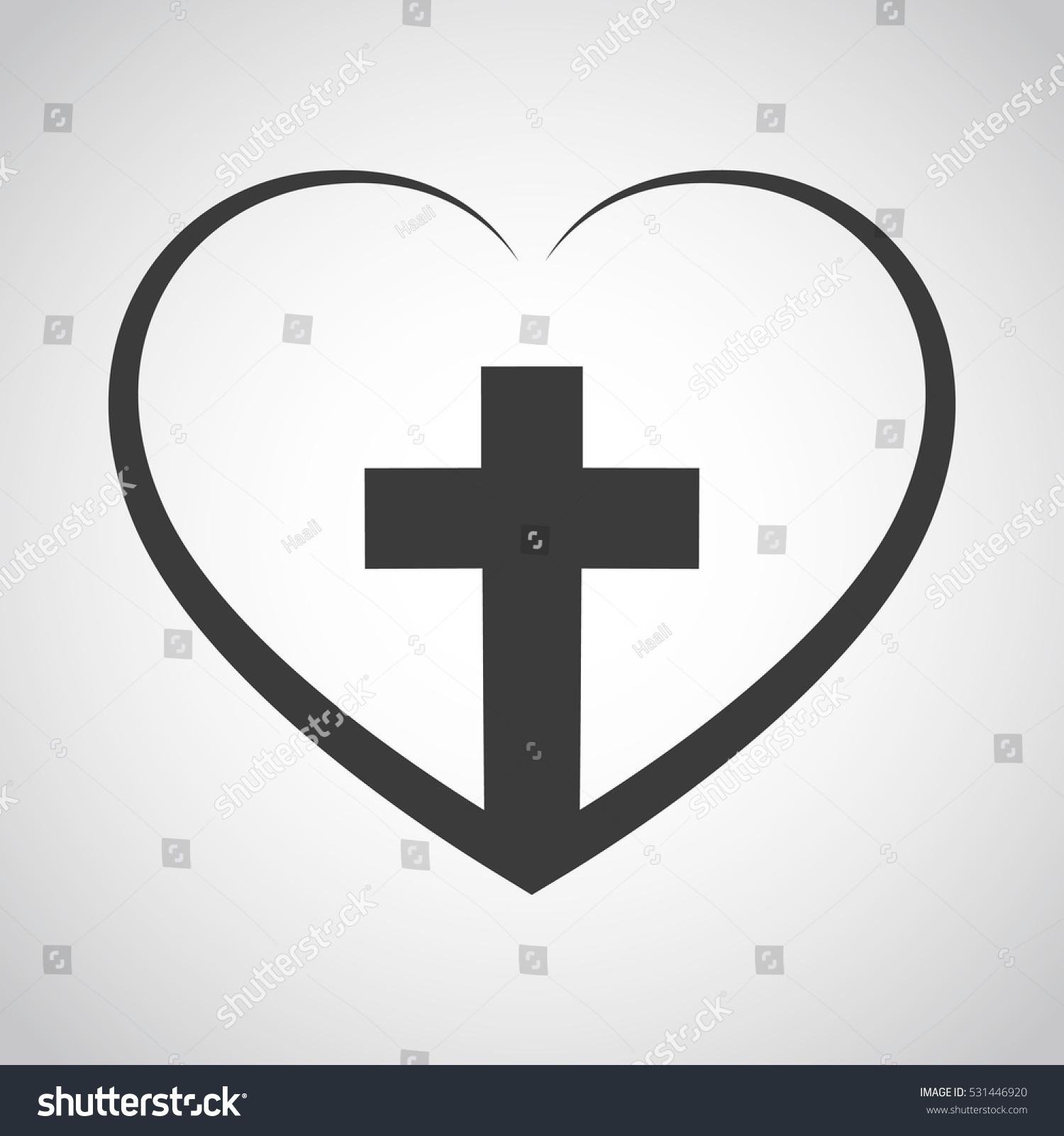 christian cross icon heart inside black stock vector