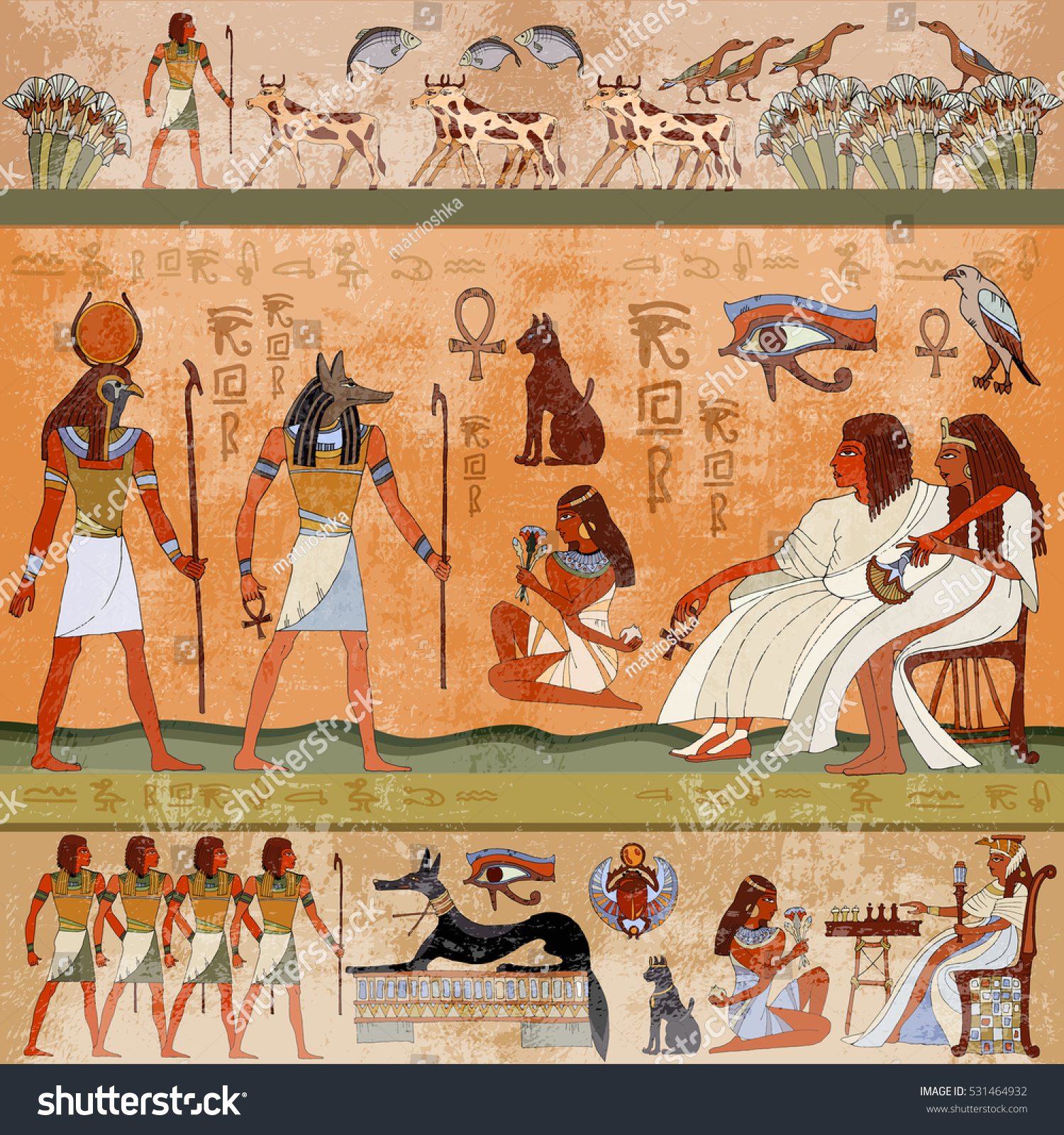 Beautiful Ancient Egypt Scene. Murals Ancient Egypt. Hieroglyphic Carvings On The  Exterior Walls Of An Part 28