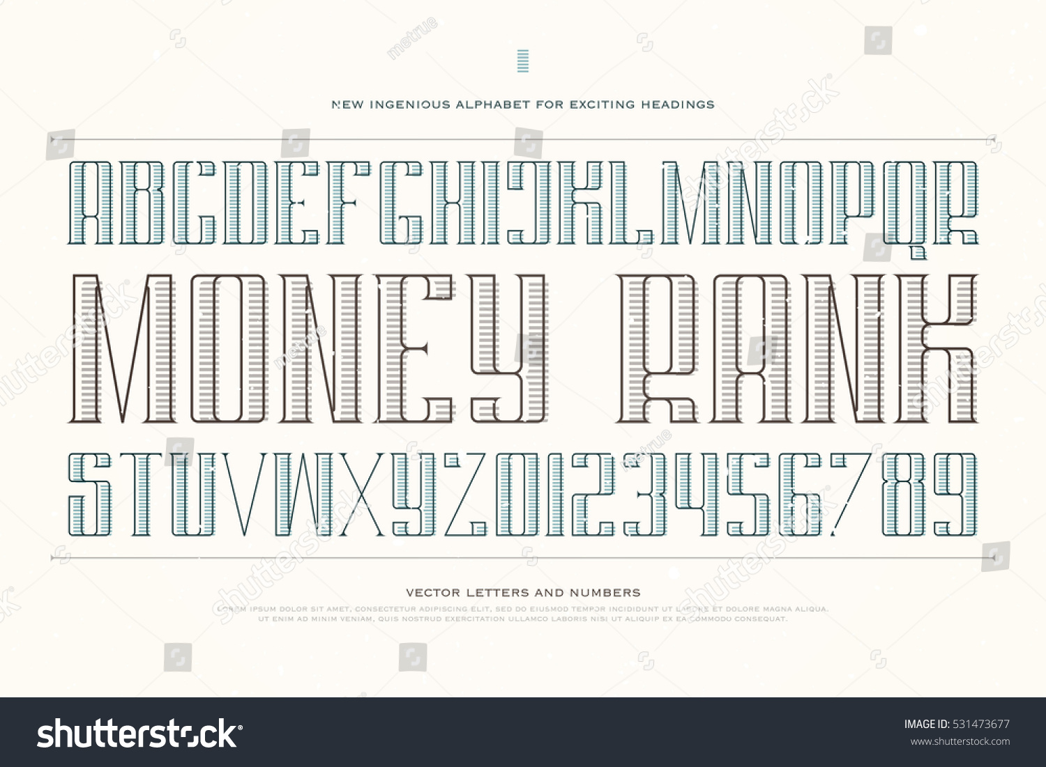 Vintage Money Alphabet Letters Numbers Vector Stock Vector ...