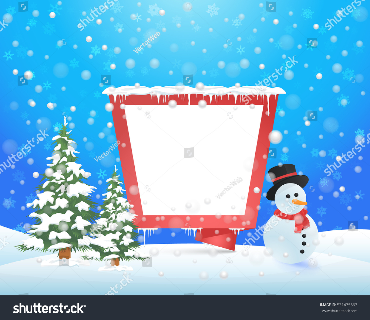 christmas landscape winter background design snowflakes stock