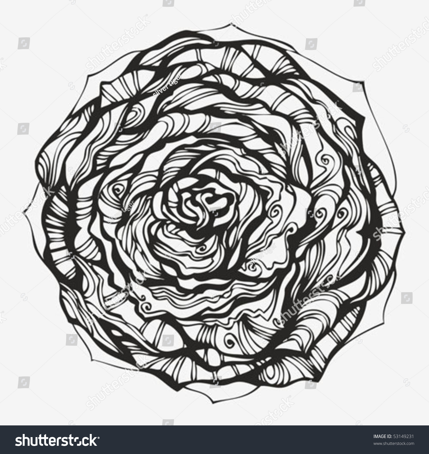 Abstract Ornamental Rose Hand Drawn High Stock Vector
