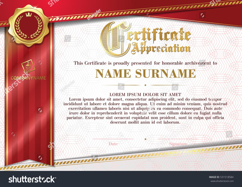 Template certificate appreciation golden badge red stock vector template of certificate of appreciation with golden badge and red ribbon horizontal yadclub Images