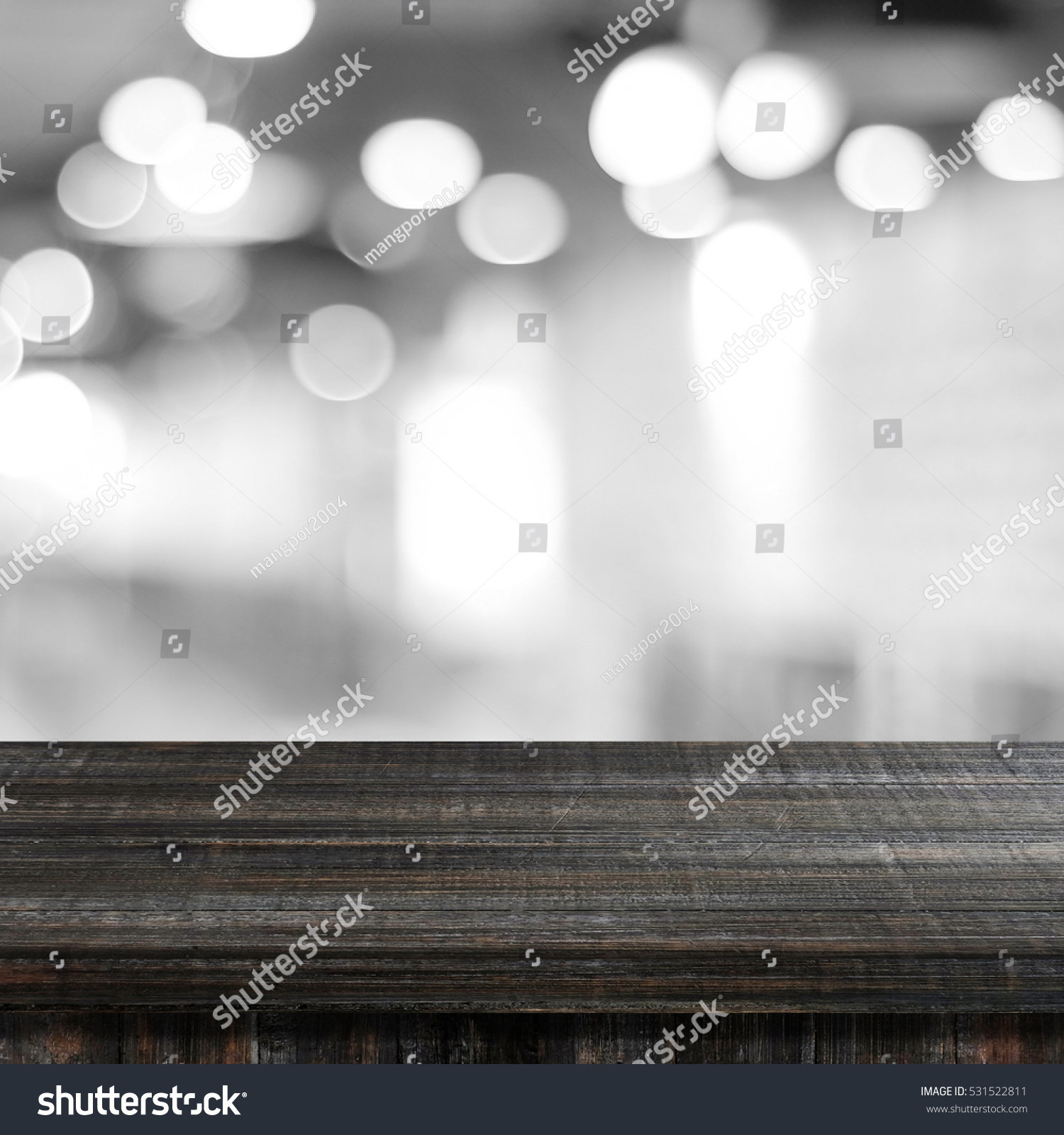 Wood Table Top On Blurred Beach Background Vintage Tone: Empty Dark Table Over Blur Black Stock Photo 531522811