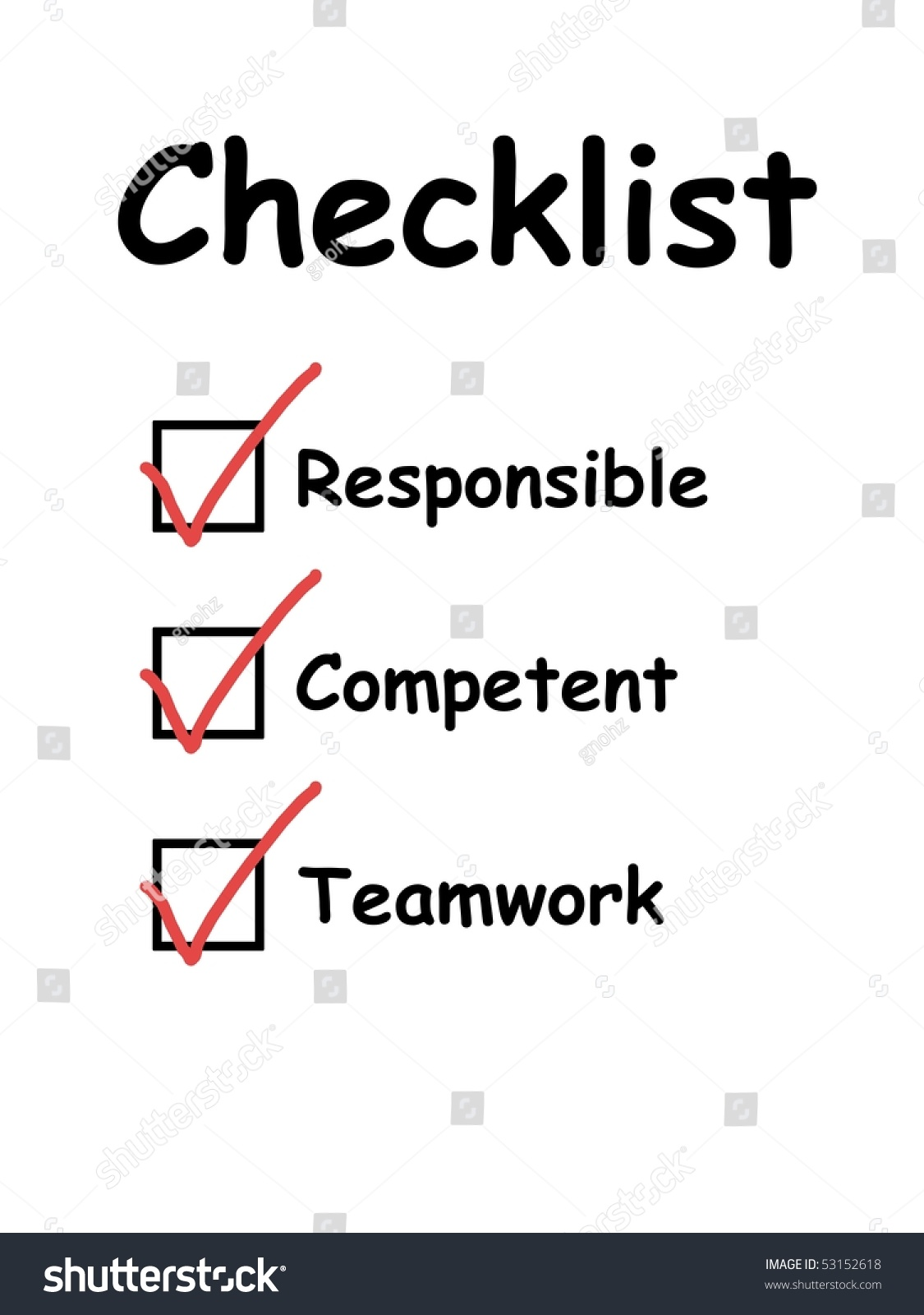 checklist used in interview and evaluation of employees or workers save to a lightbox