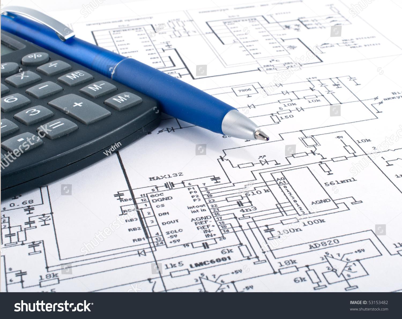 calculator pen on electrical diagram stock photo 53153482 shutterstock rh shutterstock com electrical schematic calculator Electrical Formula Calculator