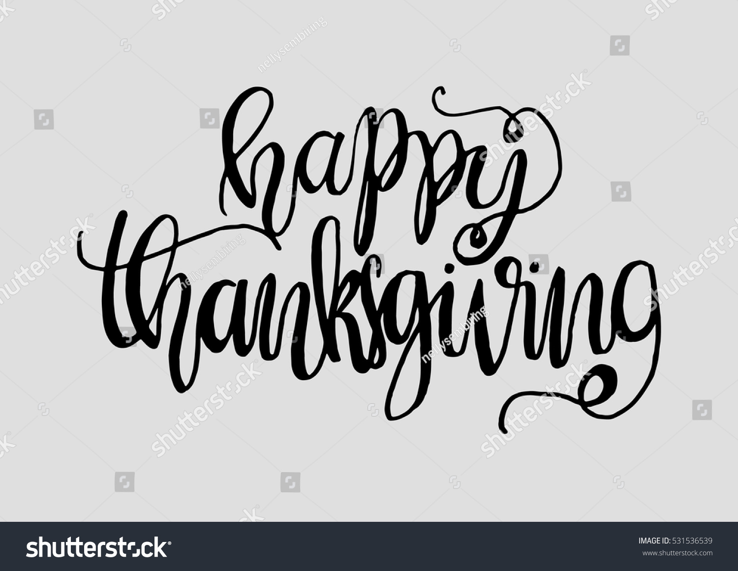 Happy thanksgiving hand drawn celebration quote doodle