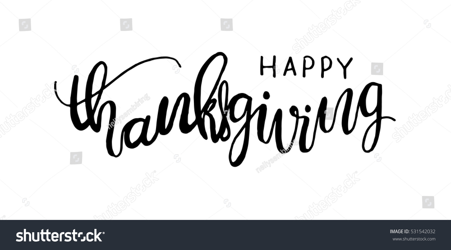 Happy thanksgiving hand drawn celebration quote stock