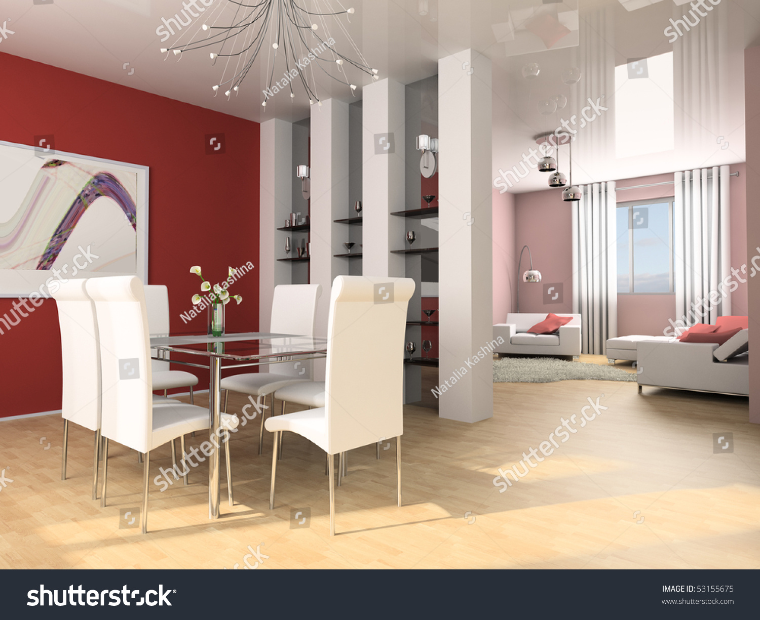 Dining table against a wall 3d image stock photo 53155675 - Dining table against the wall ...