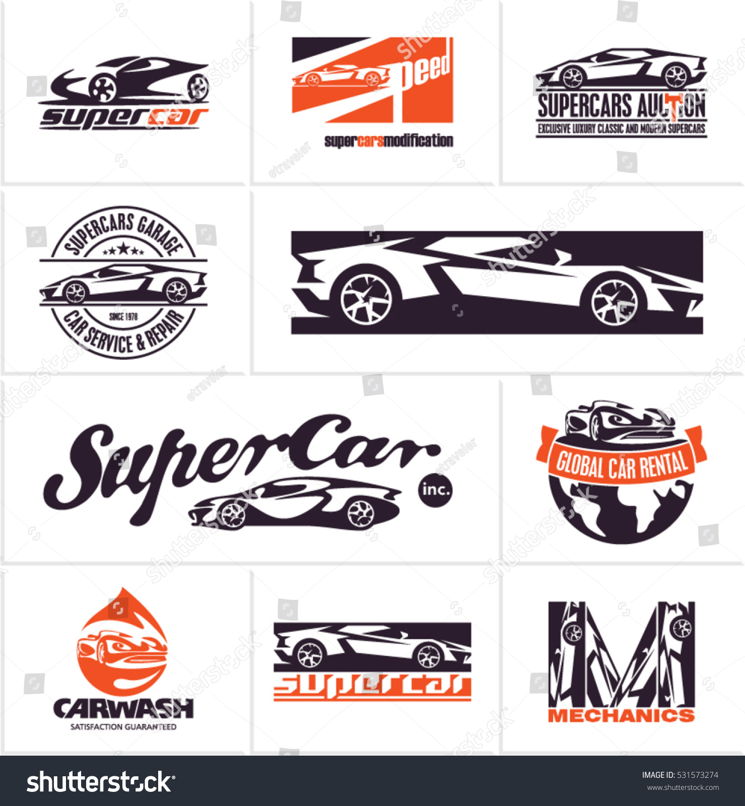 Car Logos Supercars Icons Car Service Stock Vector