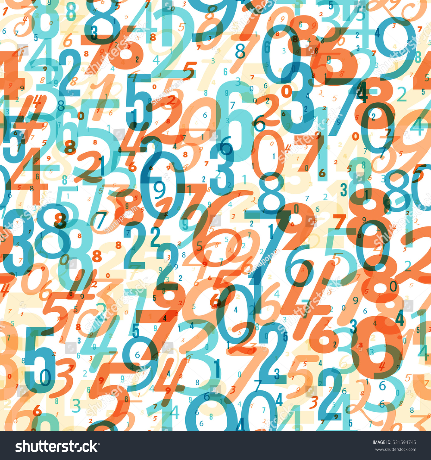 Mathematics Background Different Numbers Random Pattern Stock Vector ...
