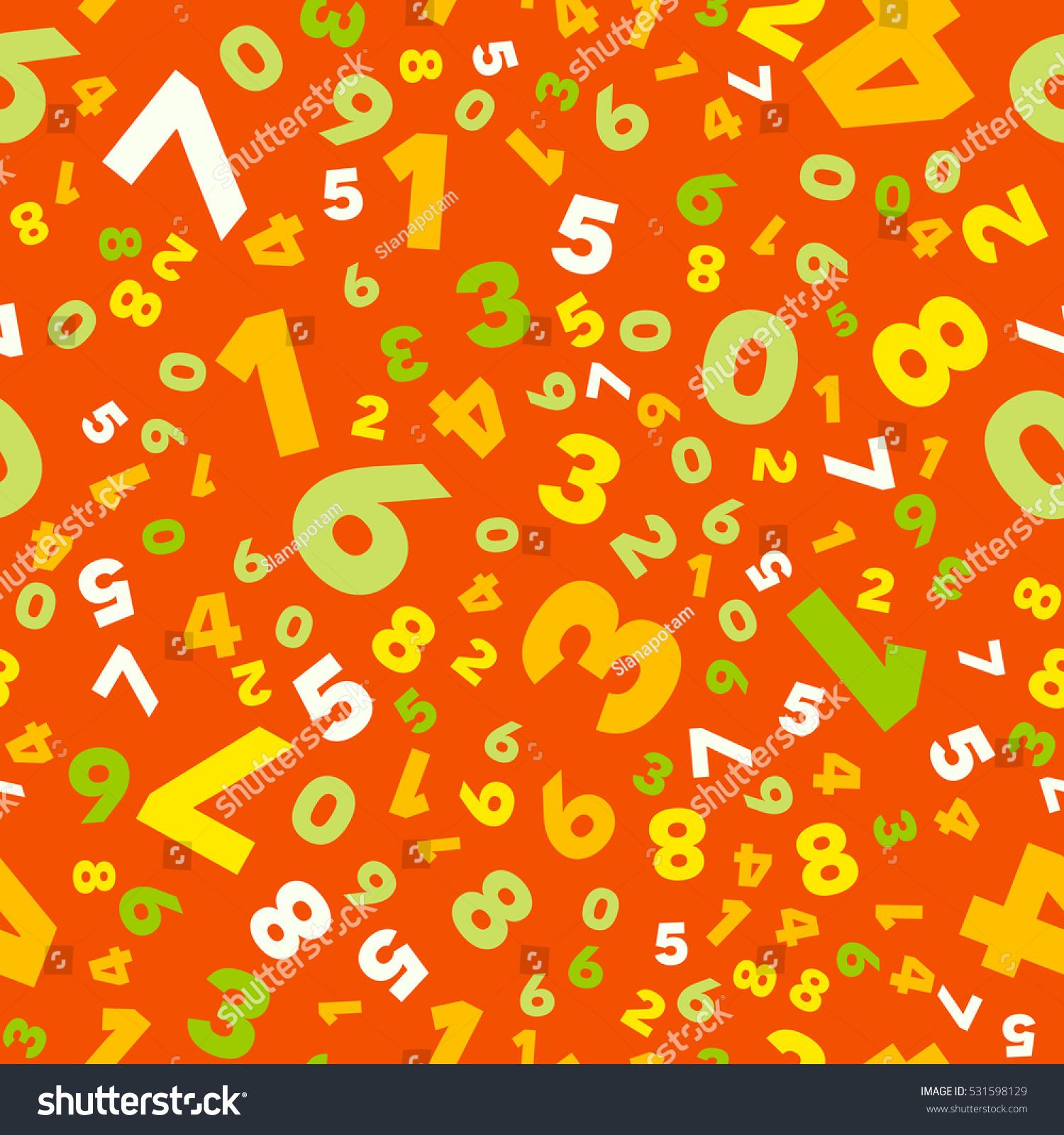 mathematics background different numbers random pattern stock vector