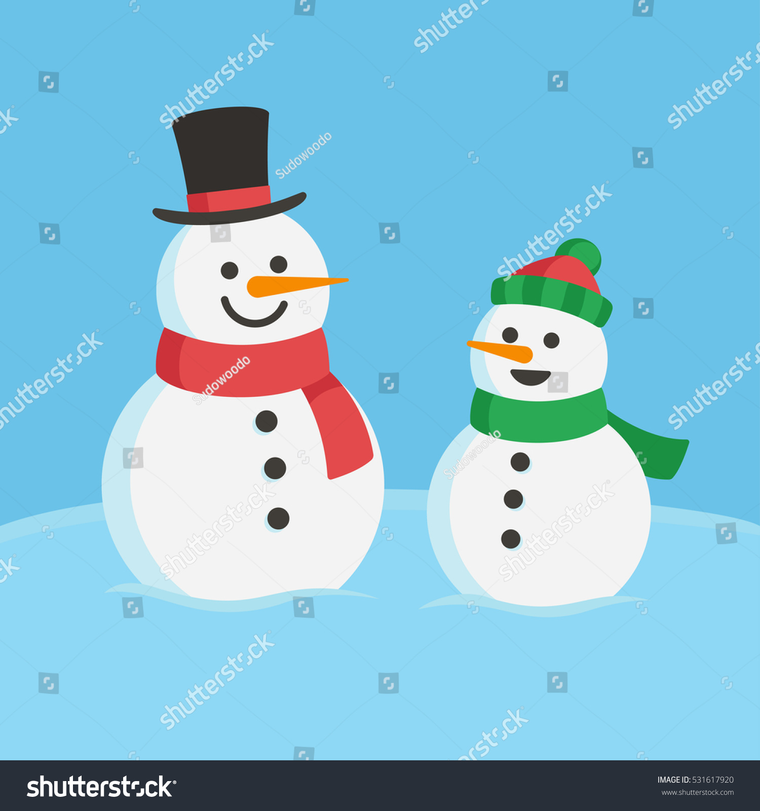 Snowman Family Christmas Illustration Two Cute Stock Vector (Royalty ... 4b4cf30aa68