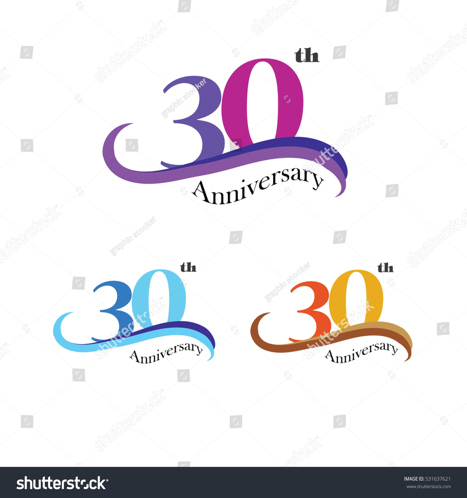 Template Logo 30th Anniversary 30 Years Stock Vector Royalty Free