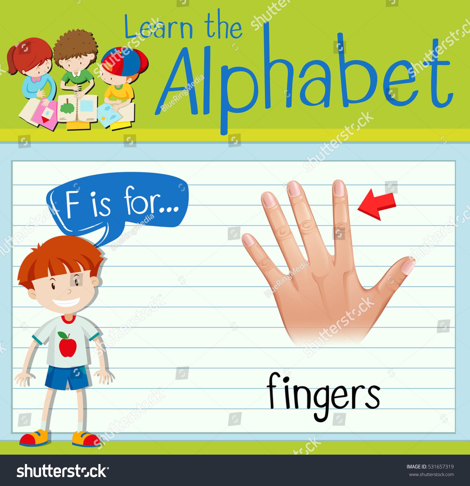Flashcard F Finger Stock Vector Royalty Free 531657319 Shutterstock