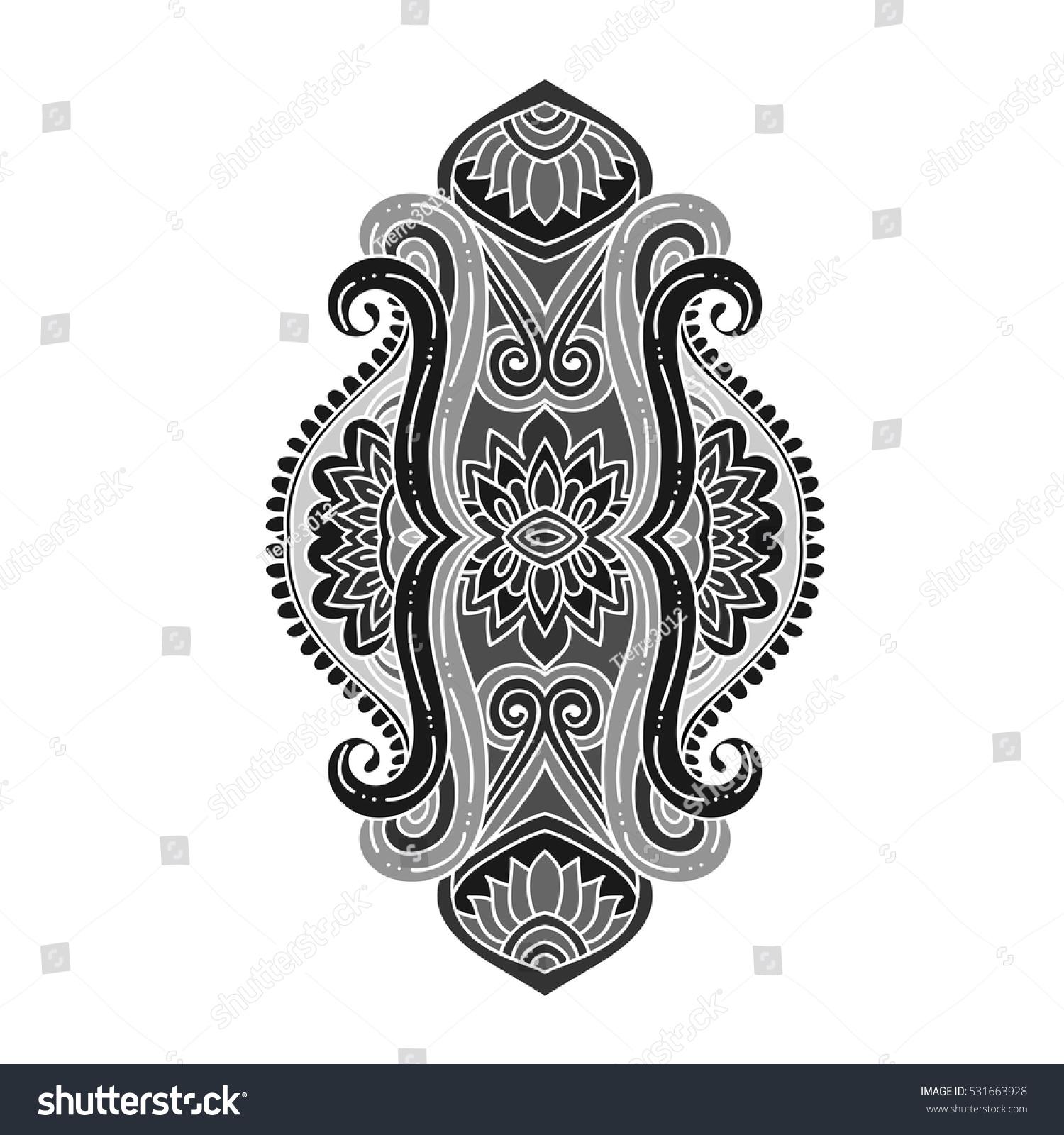 Stylized monochrome grey vector ornamental lotus stock vector stylized monochrome grey vector ornamental lotus flower ethnic art patterned indian paisley hand izmirmasajfo