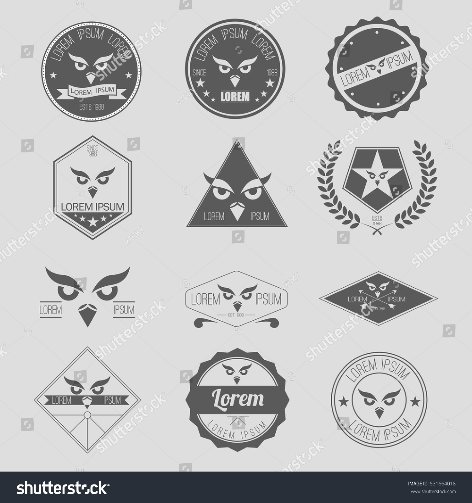 Vector Label Set Owl Hipster Logo Stock Vector (Royalty Free ...