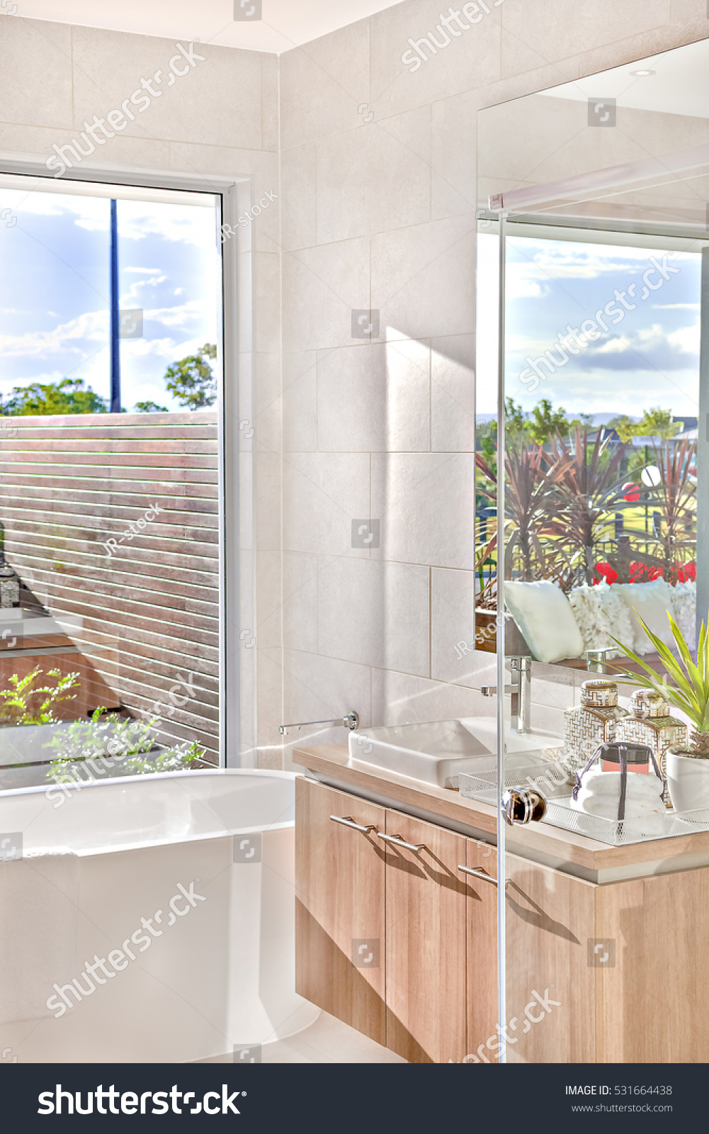 Bathroom Mirror Tub Beside Shower Window Stock Photo (Download Now ...