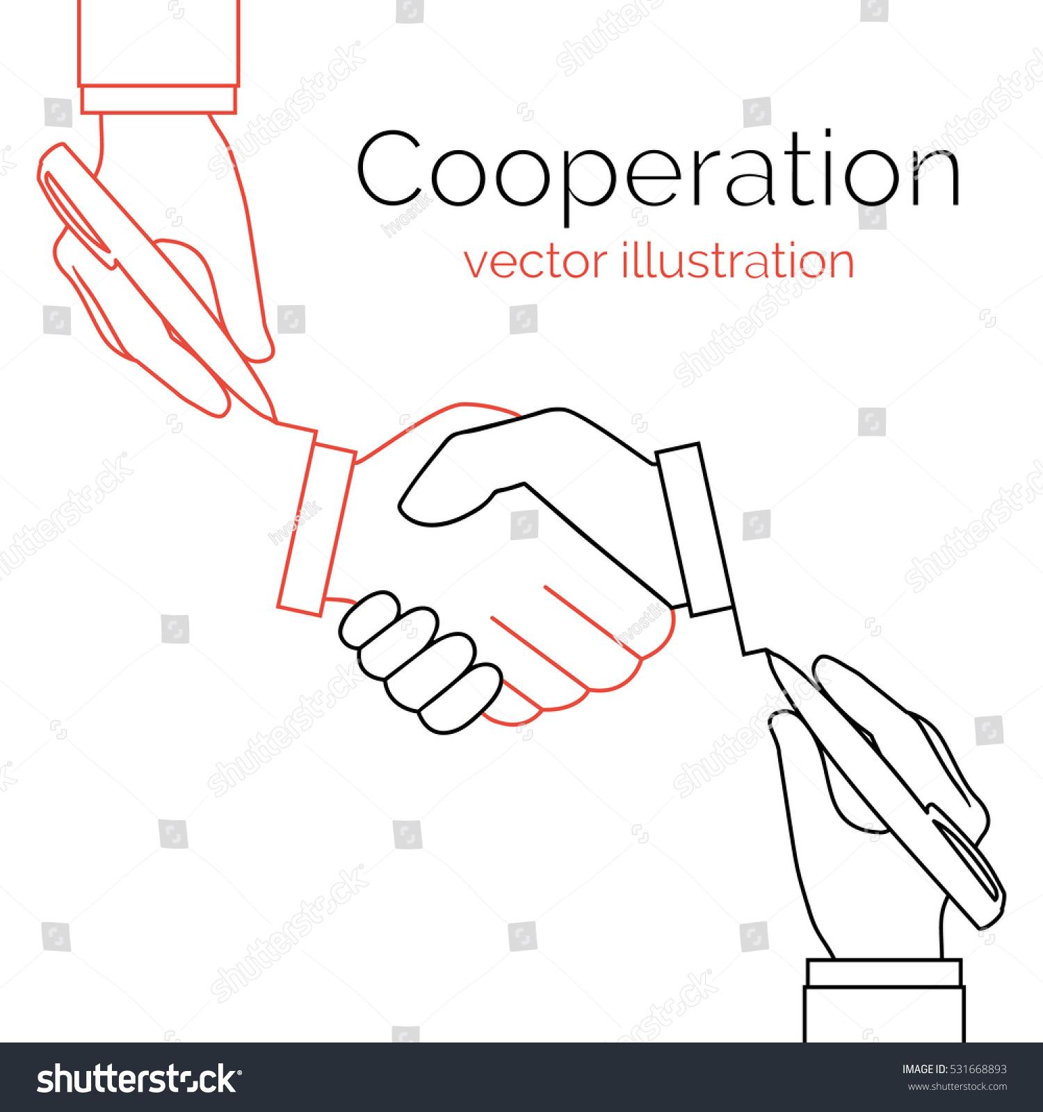 cooperation concept business partnership icon handshake stock vector 531668893 shutterstock. Black Bedroom Furniture Sets. Home Design Ideas