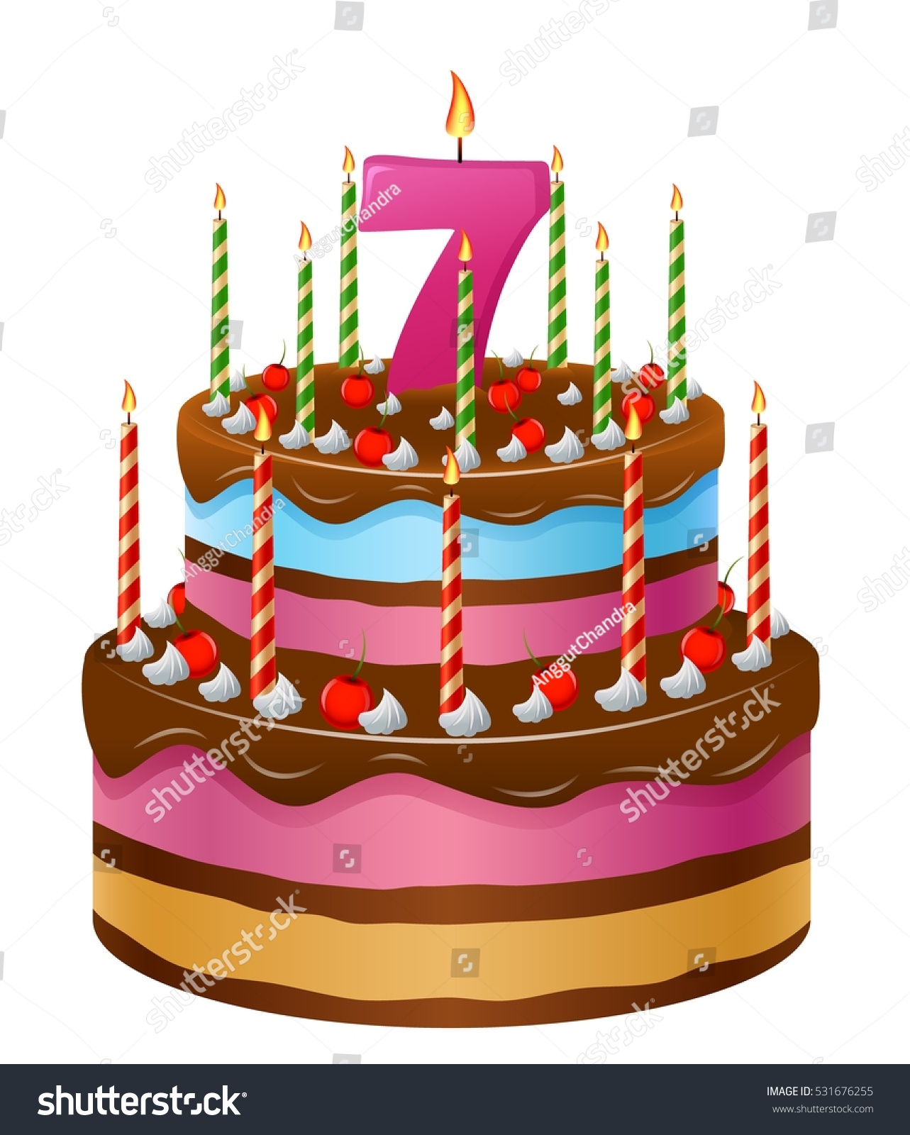 Happy Birthday Cake Numbers 7 Stock Vector Royalty Free 531676255