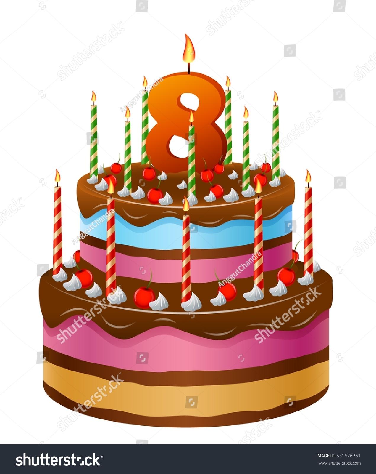 Happy Birthday Cake Numbers 8 Stock Vector Royalty Free 531676261