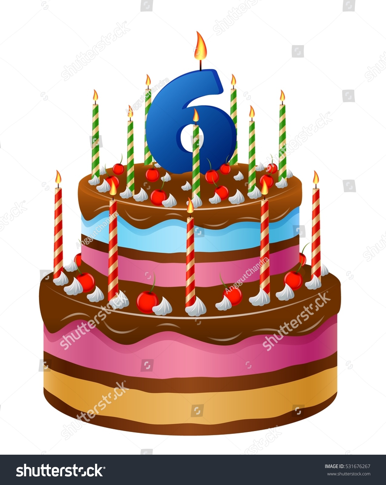 Excellent Happy Birthday Cake Numbers 6 Stock Vector Royalty Free 531676267 Funny Birthday Cards Online Bapapcheapnameinfo