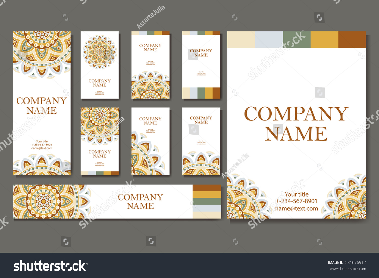 Set Business Cards Vintage Pattern Retro Stock Vector (2018 ...
