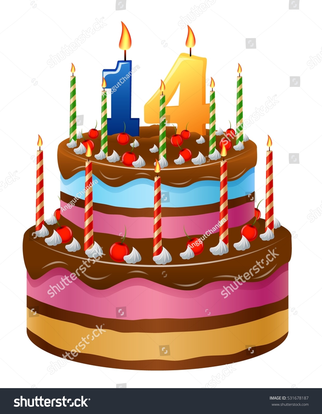 Happy Birthday Cake Numbers 14 Stock Vector Royalty Free 531678187