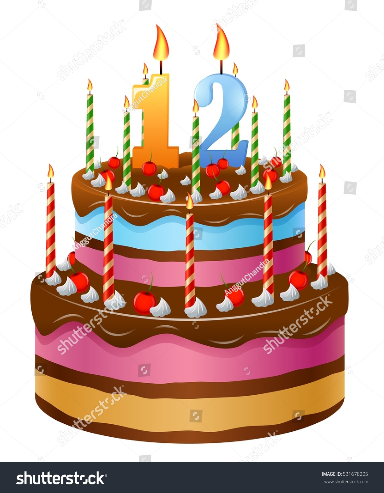 Happy Birthday Cake Numbers 12 Stock Vector Royalty Free 531678205