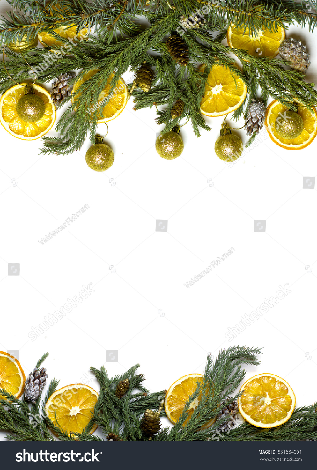 christmas top and bottom border frame of fir tree branch golden pine cones and balls dry orange fruits new years background for card market winter sale