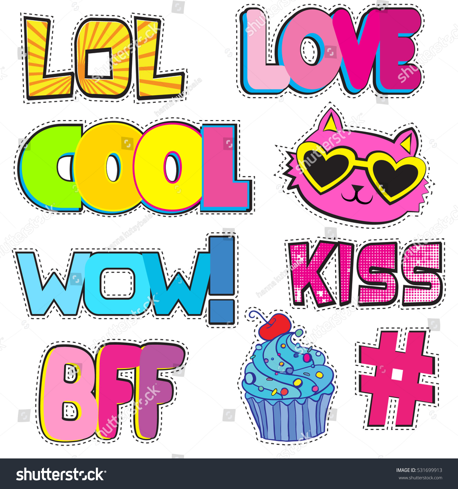 Set of cute stickers with hashtags elements wow love lol kiss cool
