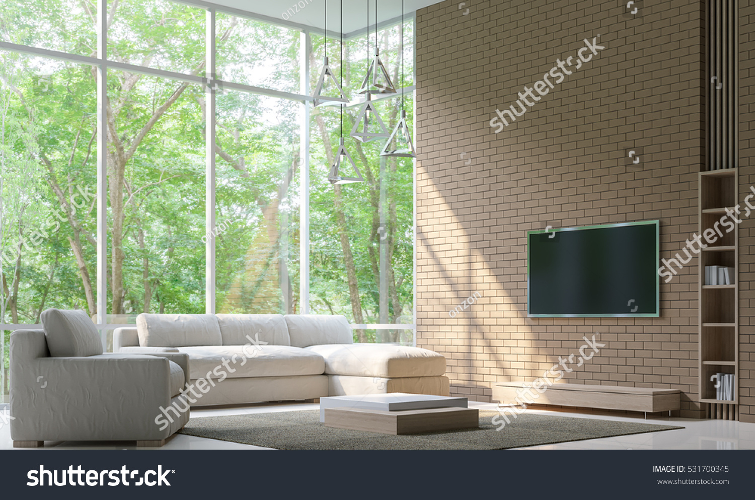 modern living room decorate wall brick stock illustration