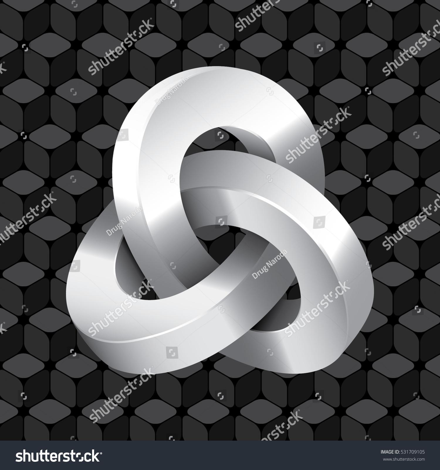 エッシャーのイメージを受けた 繰り返し立方体パターンの壁紙の前にある三重のモビウスループ不可能な幾何学的な図形のアイコン 黒い背景に光沢のあるグレイスケールエレメント グラデーションとフラットグラフィックスタイル のベクター画像素材 ロイヤリティ