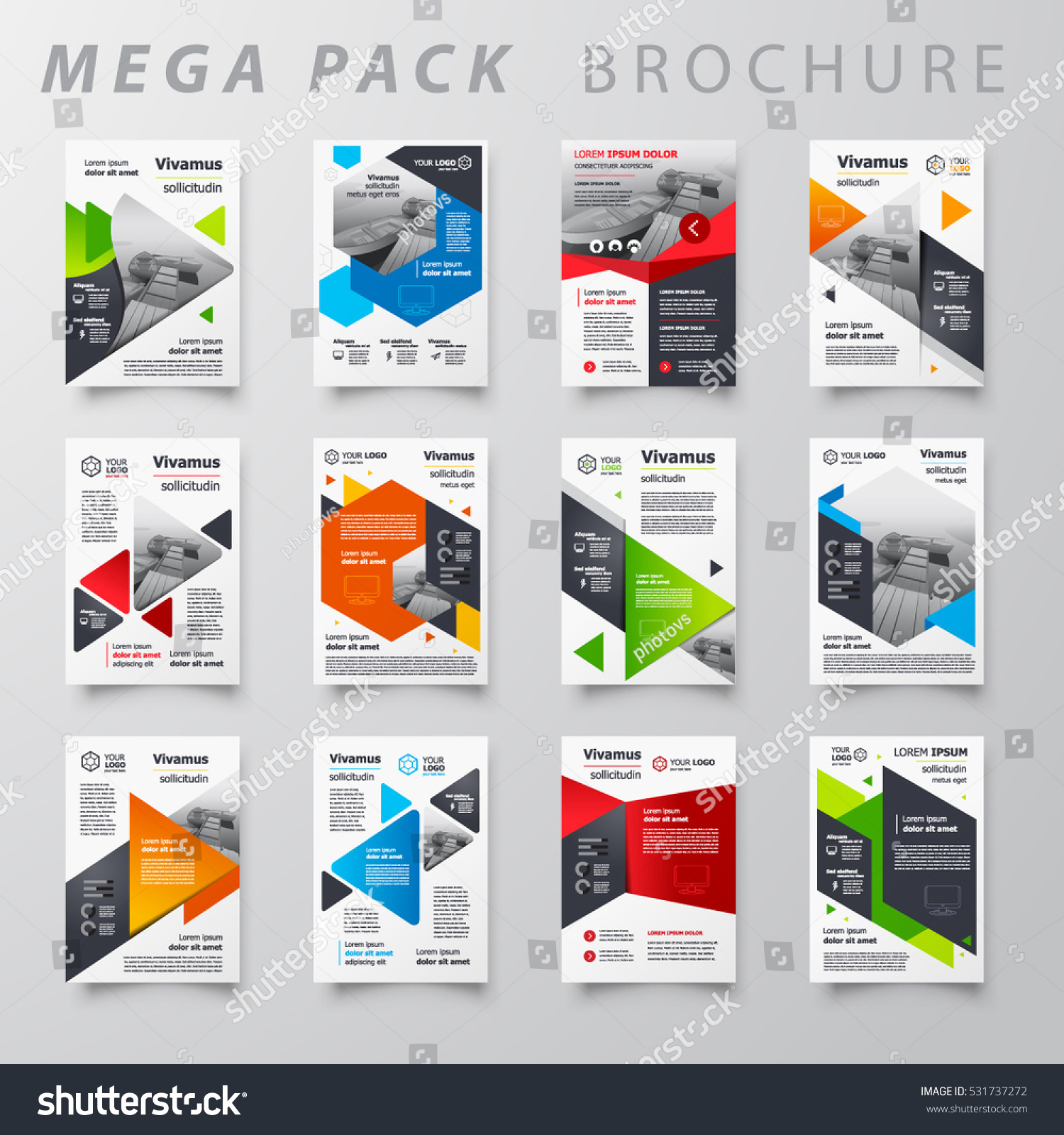 Mega pack brochure design template flyer stock vector for Brochure size template