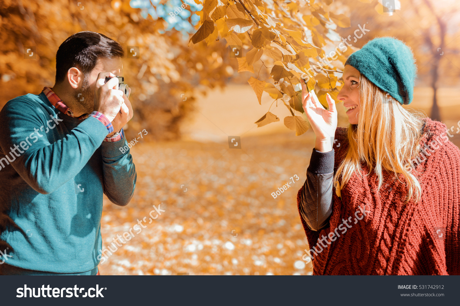 Young Couple Love Enjoying Autumn Park Stock Photo 531742912 - Shutterstock-9091