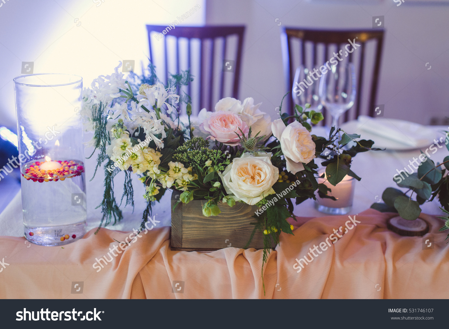 Wedding Decoration The Table Is Decorated With White Pink Flowers
