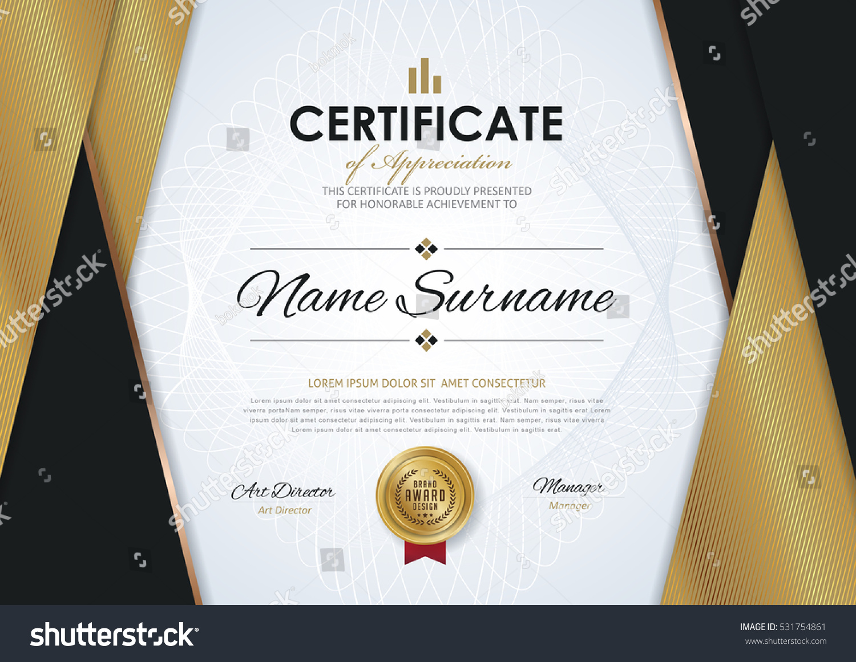 certificate template luxury golden elegant pattern のベクター画像