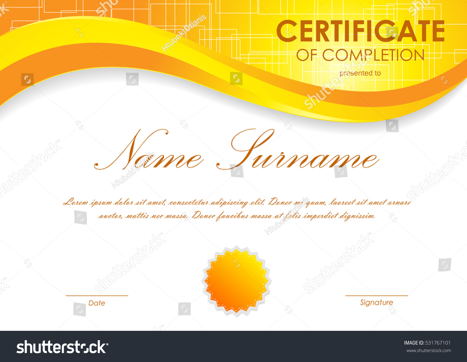 Certificate completion template digital orange light stock vector certificate of completion template with digital orange light wavy square surface background and seal vector yadclub Images