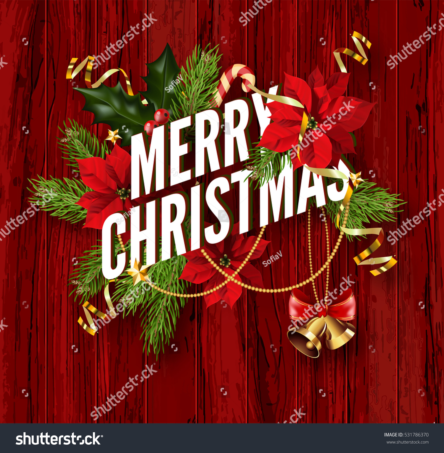 Merry Christmas Greeting Card Template Design Stock Vector Royalty