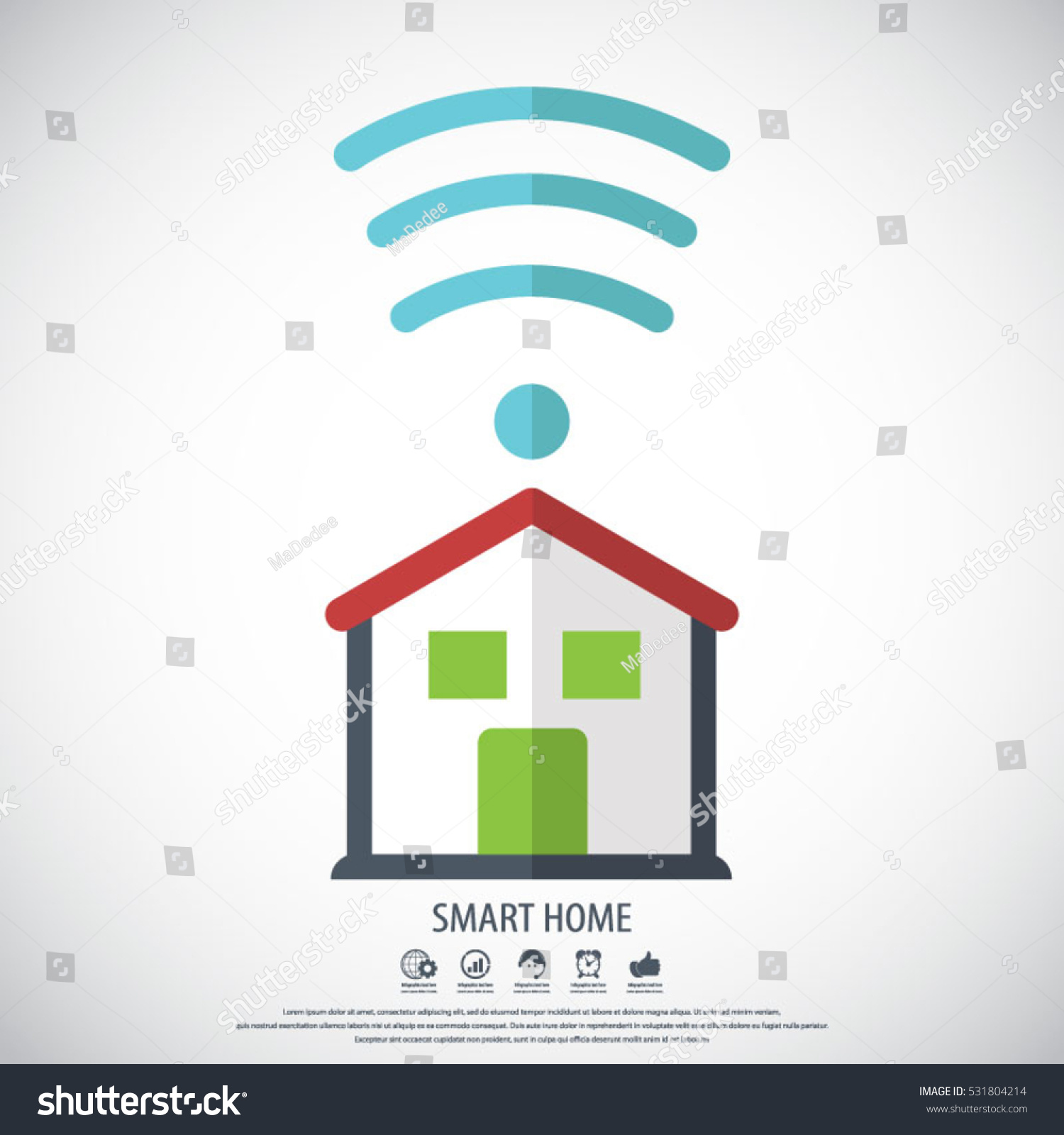 Smart Home Icon Element Cards Poster Stock Vector 531804214 ...