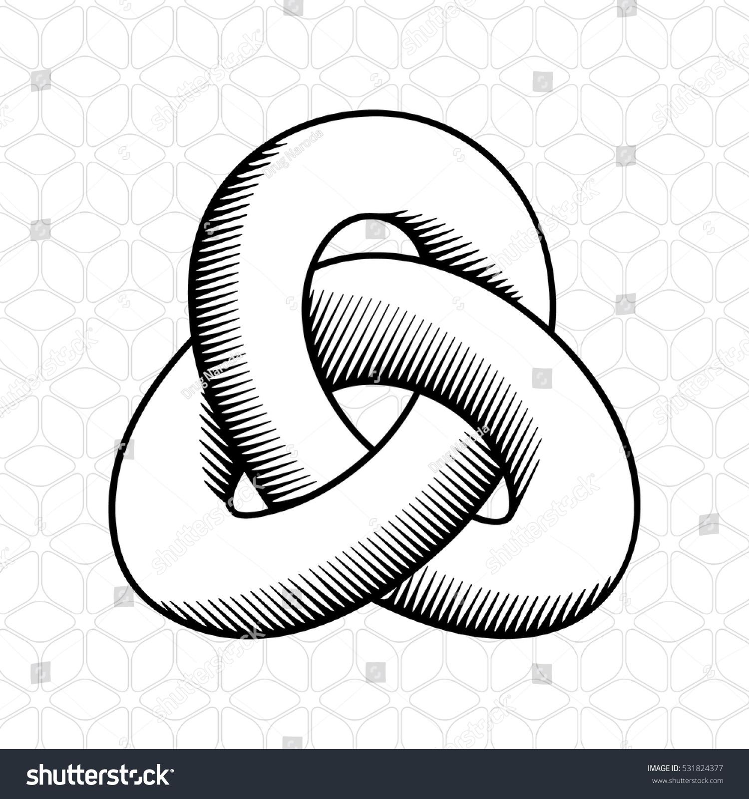triple mobius loop impossible geometric figure stock vector (royalty