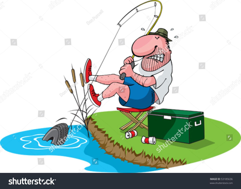 нарисовать рыбака ловящего рыбу