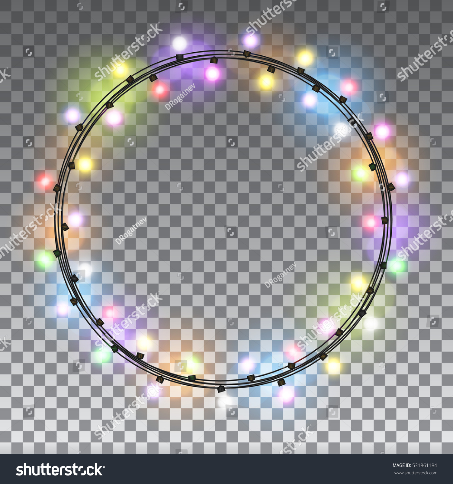 circle colorful glowing christmas lights isolated on transparent background design elements set garlands for greeting