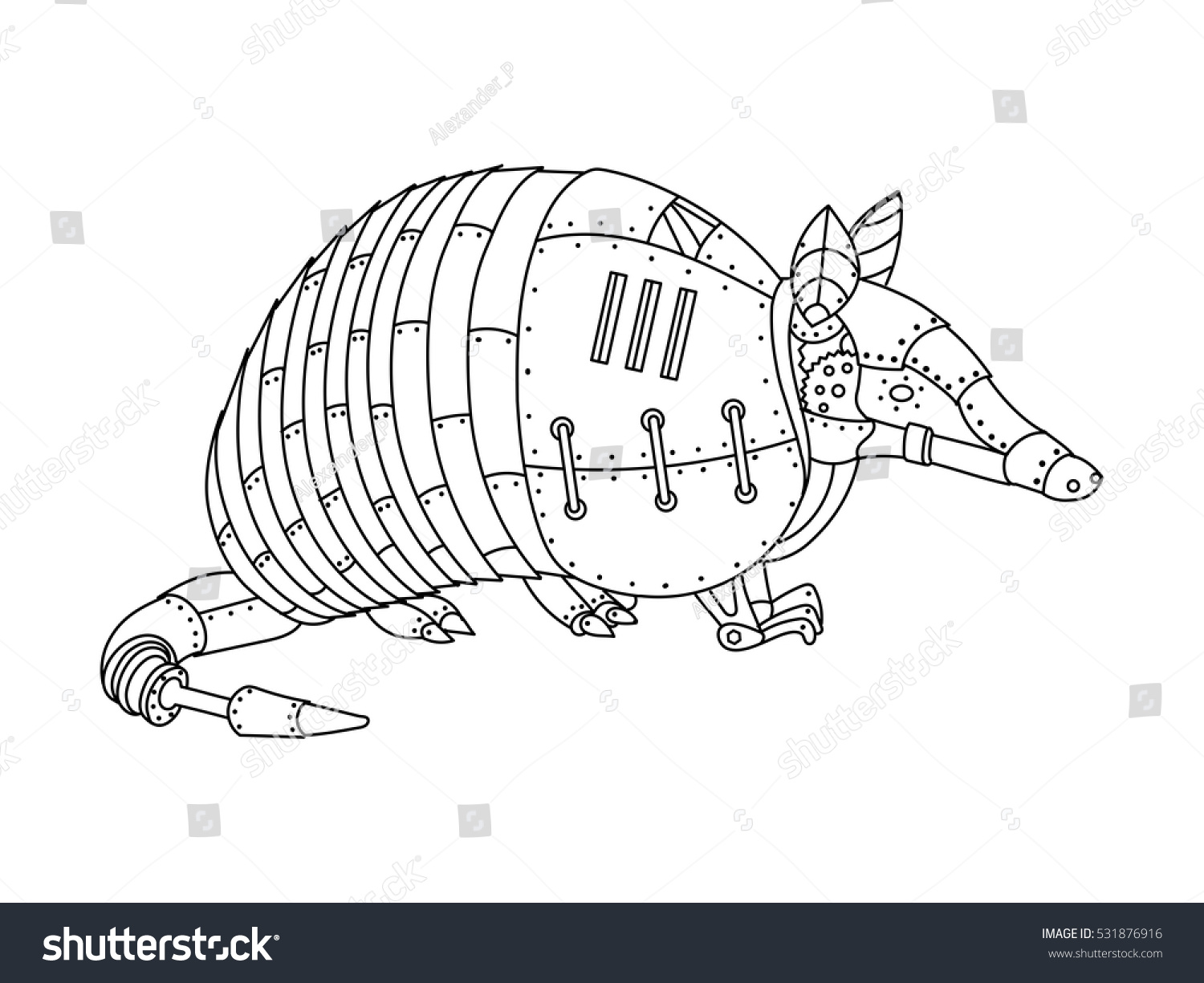 Steampunk Style Armadillo Mechanical Animal Coloring Stock Vector
