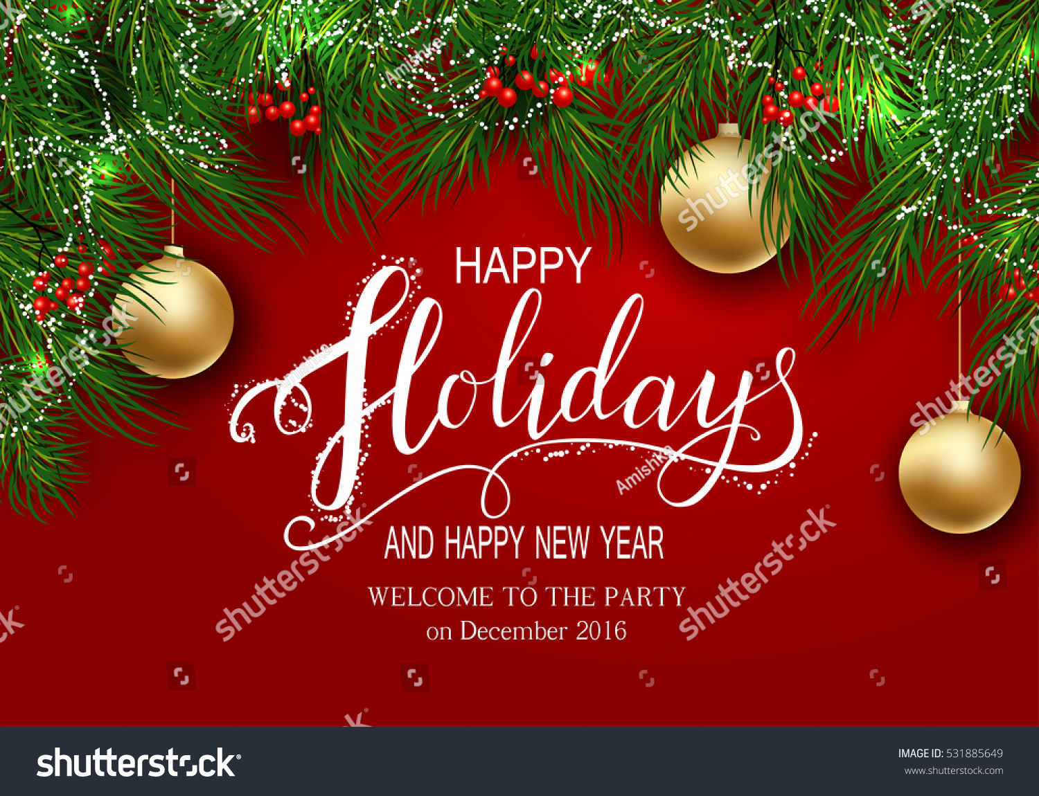 Holidays Greeting Card Winter Happy Holidays Stock Vector (Royalty ...