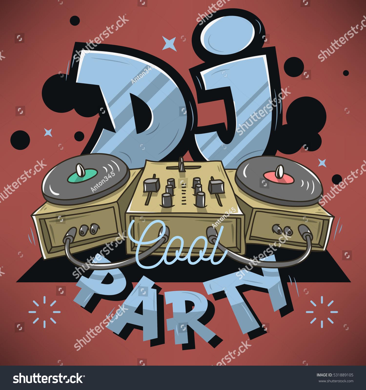 dj cool party design event poster stock vector 531889105 shutterstock. Black Bedroom Furniture Sets. Home Design Ideas